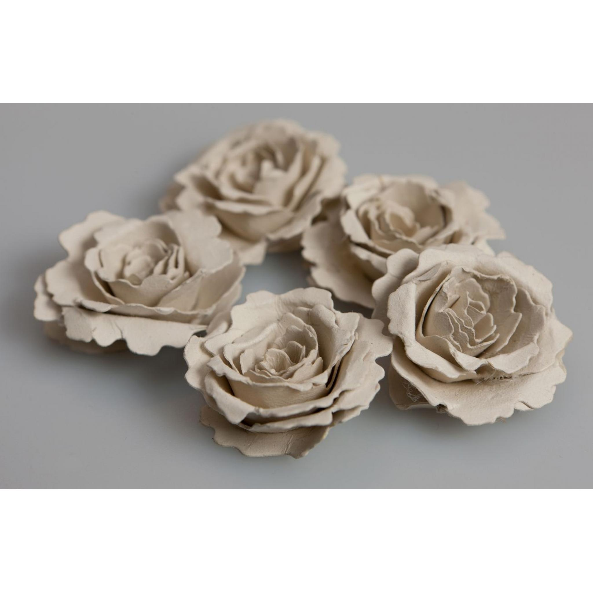 Handmade Recycled Vintage Cream Paper Flower Kit Pack Of 5 Flowers
