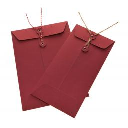 155mm Square RED String Tie Envelopes x 10