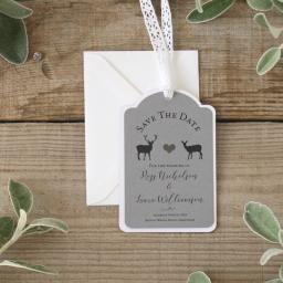 Modern stag Save The Date luggage tags and Envelopes x 25