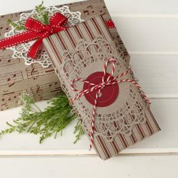Vintage Red & Kraft Printed Wrapping Paper Kit