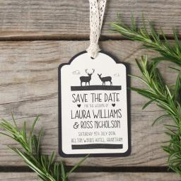 Whimsical stag Save The Date luggage tags and Envelopes x 25