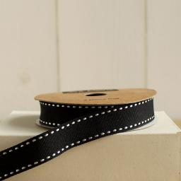 Black Stitched Ribbon - 3m roll