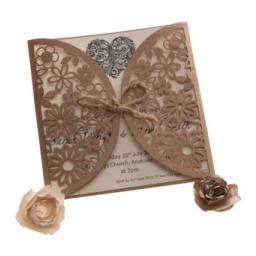 Laser Cut Floral Wedding Invitation wallets with Matching Inserts and Envelopes x 25