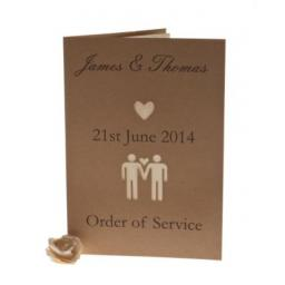 Belle Homme - Brown kraft order of Service Booklets