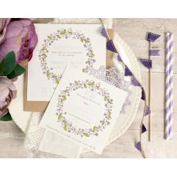 Floral Wreath Plum square invitation and RSVP set x 50