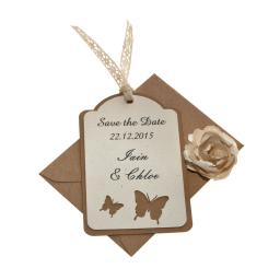 Butterfly - Vintage Cream & Brown kraft save the date luggage tags (Set of 25)