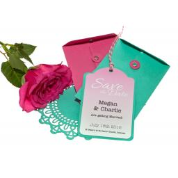 Cerise pink And Aqua Save the Date Luggage tags and Envelopes x 25 (OMBRE RANGE)