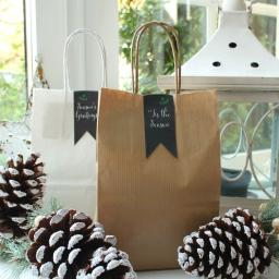 Kraft Paper bags with chalk Chevron sticker seals