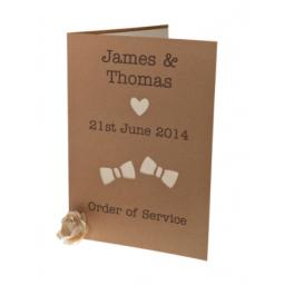 BOW TIE - Brown kraft order of Service Booklets