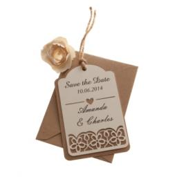 Vintage Cream (on brown kraft) save the date luggage tags FLORAL CUT x 25