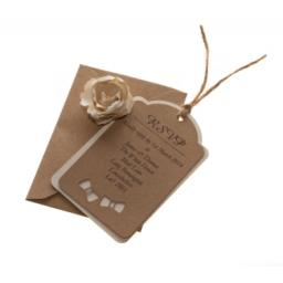 Bow Tie - Brown kraft & Vintage Cream Fleck RSVP luggage tags