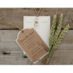 Brown Kraft and Cream WHEATGRASS Save the Date Luggage Tags and Envelopes x 25