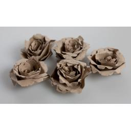Handmade Recycled Brown Kraft Paper Flower CORSAGE Kit ( pack of 5 flowers)