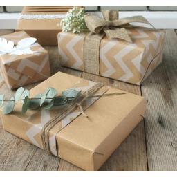 White Chevron and Kraft Wrapping Paper Kit