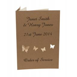 Butterfly - Brown kraft order of Service Booklets (Set of 50)