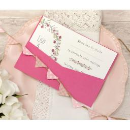 Floral Wreath PINK A6 LANDSCAPE printed Wedding Invitations x 50