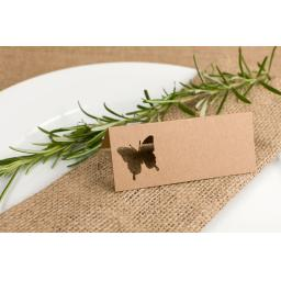 Place cards - Brown Kraft Butterfly x50