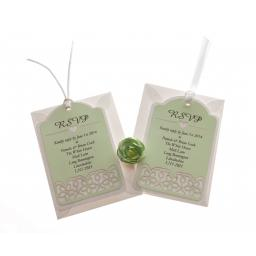 Pale Mint White Card RSVP luggage tags FLORAL CUT x 25