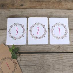 Floral Wreath PLUM Table Numbers ( A6) numbers 1 -10