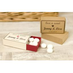 Matchboxes - Medium PRINTED x 50 - personalised -Love is sweet