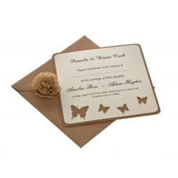 Butterfly - Vintage Cream & Brown Kraft Square card Wedding Invitations (Set of 25)