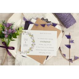 Floral Wreath PLUM A6 LANDSCAPE printed Wedding Invitations & envelopes x 50