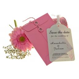 Pale pink on White Save the Date Luggage tags and Envelopes x 25 ( WHEATGRASS RANGE)