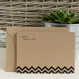 Chevron Printed Notelets & Envelopes x 10 ( BLACK)