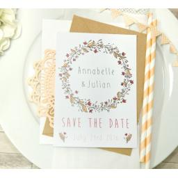 Floral Wreath PEACH SAVE THE DATE Wedding Invitations x 50