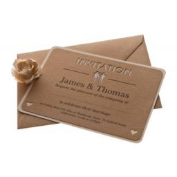 Belle Homme - Brown kraft A6 Wedding Invitations