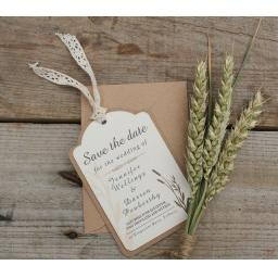 Vintage Cream & Brown kraft WHEATGRASS Save the Date Luggage Tags and Envelopes x 25