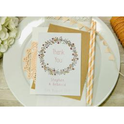Floral Wreath PEACH A6 PERSONALISED THANK YOU CARDS x 50 & envelopes