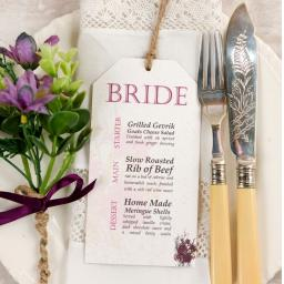 Botanical PLUM FLOWER Wedding Menu tags
