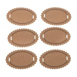 Brown kraft scalloped oval tags x 50