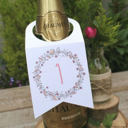 Floral Wreath PEACH Wine Bottle Table Numbers (A5) numbers 1 -10