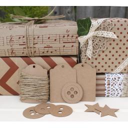 Vintage Red & Kraft Printed Wrapping Paper Kit
