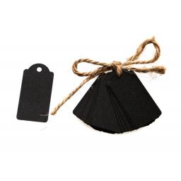 Mini black kraft luggage tags x 50