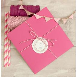 Floral Wreath PINK square invitation and RSVP set x 50