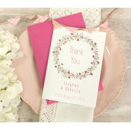 Floral Wreath PINK A6 THANK YOU CARDS x 50 & envelopes