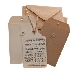 Vintage Cream & Brown Save the Date tags and Envelopes x 25 ( VINTAGE RANGE)