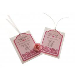 Pale Pink on Shocking Pink Card RSVP luggage tags FLORAL CUT x 25