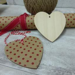 Wooden Heart Tags x 5
