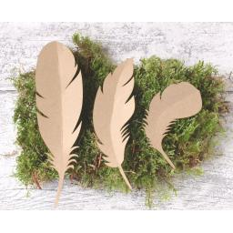Card Feathers - Brown Kraft mixed sizes x 9