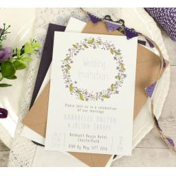 Floral Wreath PLUM A6 PORTRAIT printed Wedding Invitations & Envelopesx 50