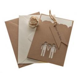 Belle Homme Brown Kraft A6 invitation Sleeves & FREE mini flag tags x 50