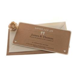 Belle Homme Brown kraft card Wedding Invitations - DL Size