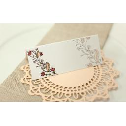 Floral Wreath Wedding - PEACH place cards x 50