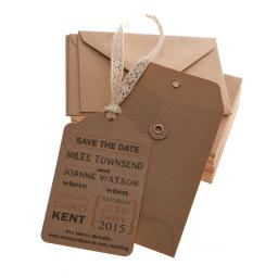 Peach and Brown Kraft Save the Date tags and Envelopes x 25 ( VINTAGE RANGE)