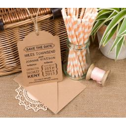 Extra Large PERSONALISED Brown kraft luggage tags x 50 WITHOUT envelopes
