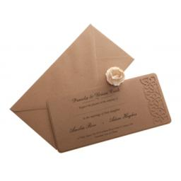 Brown kraft card Wedding Invitations - FLORAL LASERCUT ( DL size) x 25
